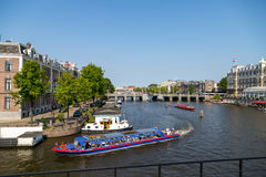 Canal Boats in Amsterdam Royalty Free Stock Images