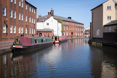 Canal boats on a Birmingham Canal Royalty Free Stock Photo
