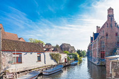 Canal with boats in Bruges Royalty Free Stock Images