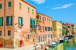 Canal with boats and buldings, Venice, Italy Royalty Free Stock Image