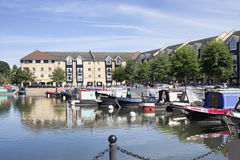 Canal boats docked in the very popular Apsley Marina Royalty Free Stock Photo