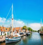 Canal with boats in Edam, Netherlands stock image