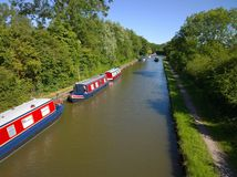 Canal boats in the English Countryside Royalty Free Stock Images