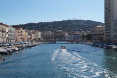 Canal boats on the French Riviera Stock Photos