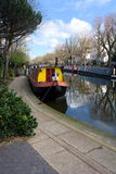 Canal boats, moored at Little Venice, London. Stock Photo