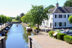 Canal boats fortress old buildings, Naarden Vesting, Netherlands Royalty Free Stock Photos