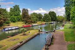 Canal boats on river Royalty Free Stock Images