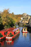 Canal boats on Springs Canal, Skipton, Yorkshire Stock Photos