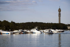 Canal with boats in Stockholm Sweden Stock Image
