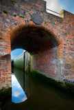 Canal bridge. Looking under a canal bridge with the sky reflecting in the water Stock Photos