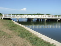 Canal bridge. In a water reservoir, Cuba Royalty Free Stock Images