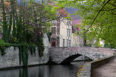 Canal and bridge in Bruges Stock Image