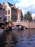 Canal with bridge, Bruges. Stock Photos