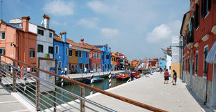 Canal and Bridge on Burano Stock Photo