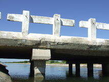 Canal bridge closeup. In a water reservoir Royalty Free Stock Photo