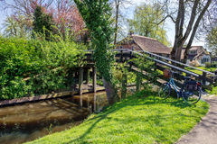 Canal and  bridge in Giethoorn Stock Photos