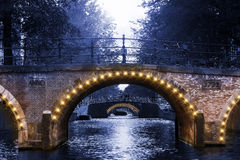 Canal bridge lights Royalty Free Stock Photos