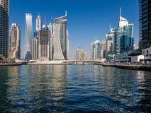 Canal and bridge in the Marina District of Dubai Royalty Free Stock Photography