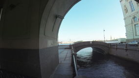 Canal and bridge near Hermitage. RUSSIA, SAINT PETERSBURG, JULY, 2016: Winter Canal - Canal at Central district of St. Petersburg, connecting Great Neva and stock footage