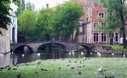 The canal and the bridge of the old part in Bruges Stock Photography