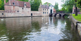 The canal and the bridge of the old part in Bruges Stock Images