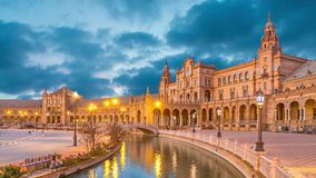 Canal and bridge on Plaza de Espana in Seville. Canal and bridge reflecting in water on Plaza de Espana in the evening, Seville, Andalusia, Spain  static image stock video footage