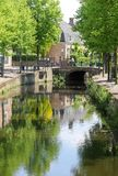 Idyllic canal, bridge and reflections in Amersfoort, Netherlands  Stock Image