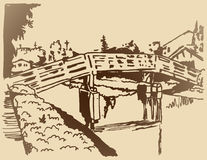 Canal Bridge Sketch Stock Photos
