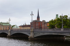Canal and bridge in Stockholm Royalty Free Stock Image