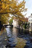 Canal in Bruges. Belgium in autumn time Royalty Free Stock Image