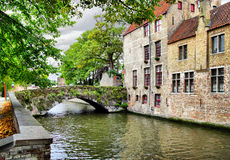Canal in Bruges. Medieval houses on canal in Bruges, Belgium Royalty Free Stock Photo
