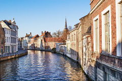 Canal Bruges,belgium. Pretty canal scene with beautiful architecture in Bruges Belgium Stock Image