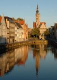 Canal of Bruges, Belgium. Cityscape of Bruges Canals, Belgium Royalty Free Stock Images