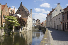 Canal in Bruges, Belgium. Quiet canal in the old part of Bruges, Belgium Stock Image