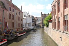 Canal in Bruges Belgium Stock Image