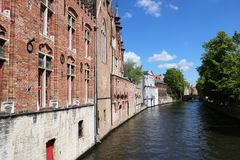 Canal in Bruges Belgium Stock Photography