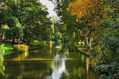Canal in Bruges. Flanders. Belgium Stock Photos