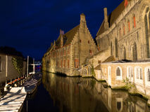 Canal in Bruges at Night Stock Photo