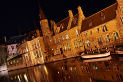 Canal in Bruges. Night scene of canal in Bruges, Belgium Stock Photography