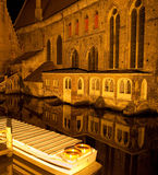 Canal in Bruges at night Stock Images