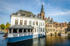 Canal in Bruges. Scenery with water canal in Bruges, `Venice of the North`, cityscape of Flanders, Belgium Royalty Free Stock Image