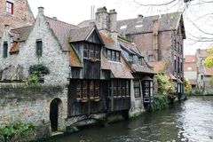Canal in Bruges. View on canal and houses in Bruges Stock Photo