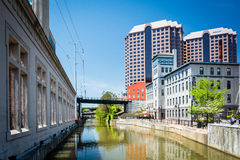 Canal and buildings in downtown Richmond, Virginia. Royalty Free Stock Image