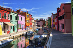 A canal in Burano Stock Images