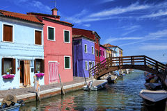 A canal in Burano Royalty Free Stock Images