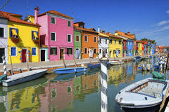 A canal in Burano Stock Image