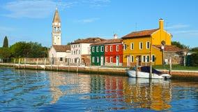 Canal on Burano island, Venice, Italy royalty free stock image