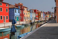 Canal in Burano little village Royalty Free Stock Images
