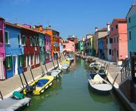 Canal in Burano, Venice Royalty Free Stock Image