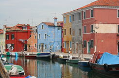 A canal in Burano Stock Photo